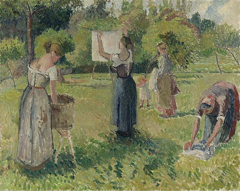 Camille Pissarro - Laundresses at Eragny (study), 1901. Sotheby's