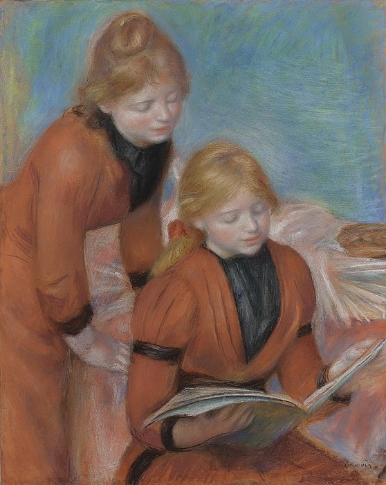 Pierre Auguste Renoir - Reading, 1889. Sotheby's