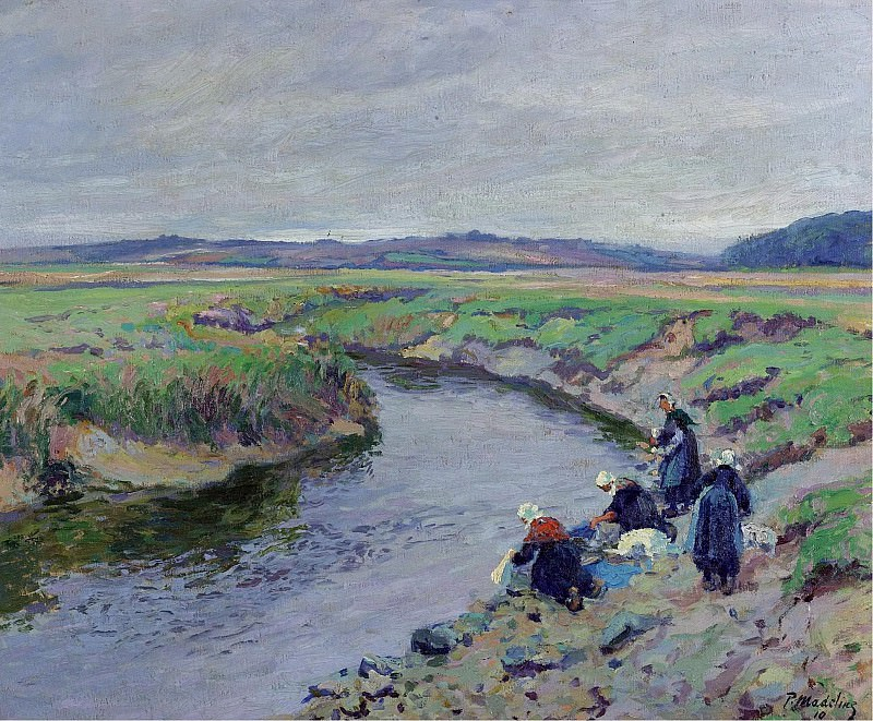 Paul Madeline - Laundresses by the River, 1910. Sotheby's