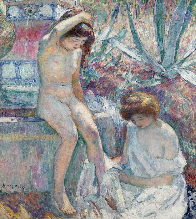 Henri Lebasque - Saint-Tropez, Madame Lebasque and Marthe near Fountain, 1907. Картины с аукционов Sotheby's