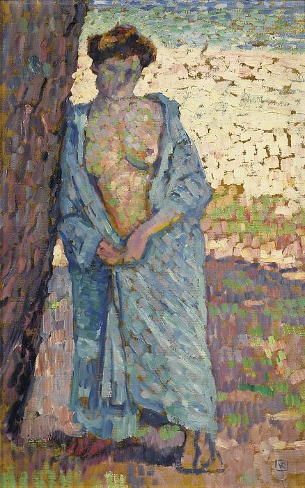 Theo van Rysselberghe - Young Woman in Blue Peignoir, 1905. Картины с аукционов Sotheby's