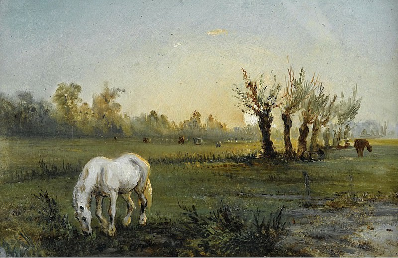Camille Pissarro - White Horse at the Meadow, 1856. Sotheby's