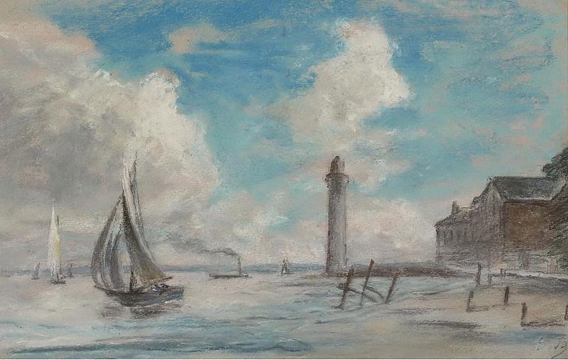 Eugene Boudin - Honfleur. Seashore. Lighthouse and Vessel. Sotheby's