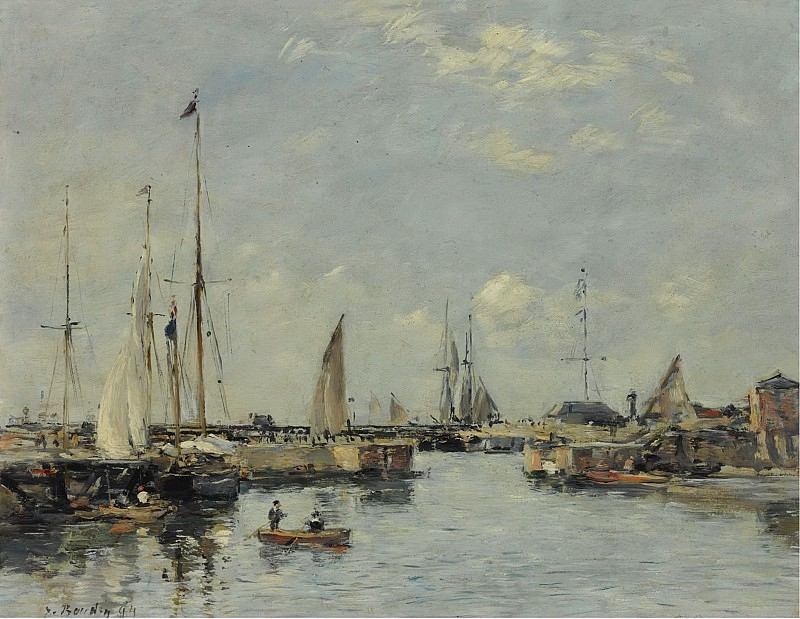 Eugene Boudin - Shipping Lock at Trouville, 1894. Sotheby's