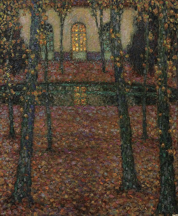 Henri Le Sidaner - Trianon Pool in Autumn, 1937. Sotheby's