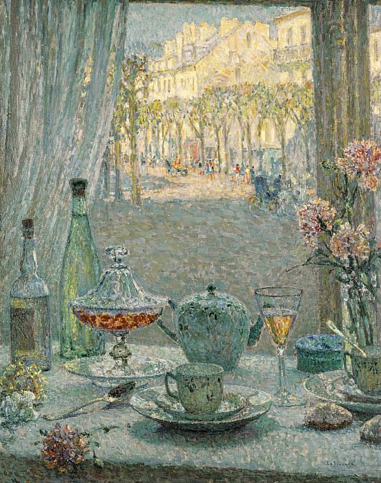 Henri Le Sidaner - Table near the Window, Reflections, 1922. Sotheby's
