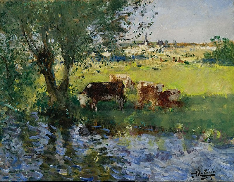 Pierre-Eugene Montezin - Cows in the Willows Shade. Sotheby's