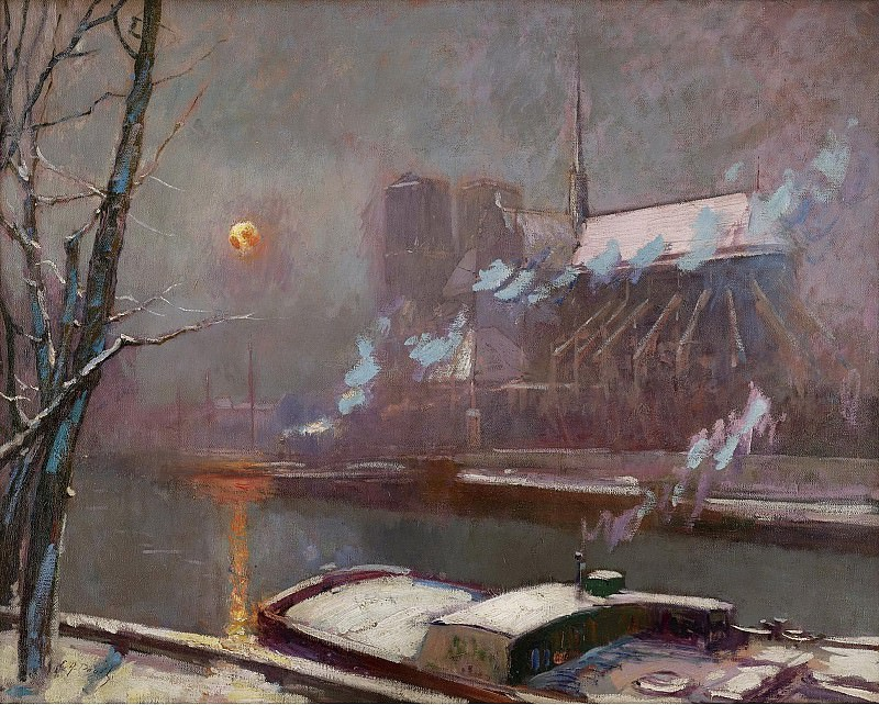 Elie Anatole Pavil - The Quay of Tournelle at Sunset in Winter. Sotheby's