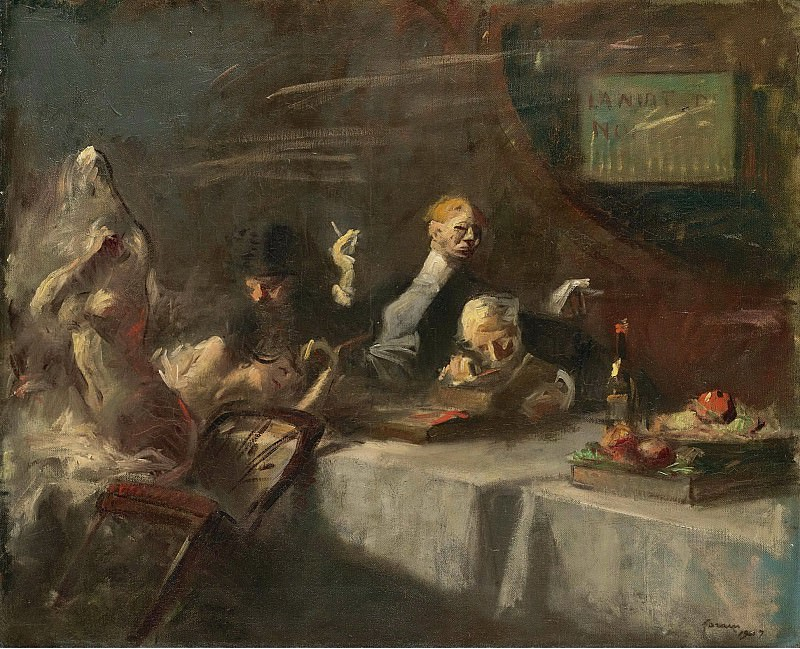 Jean-Louis Forain - A Night at Maxims, 1907. Sotheby's