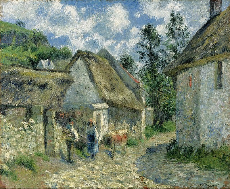 Camille Pissarro - Paved Street at Valhermeil, Auvers-sur-Oise, the Cabins and the Cow, 1880. Sotheby's