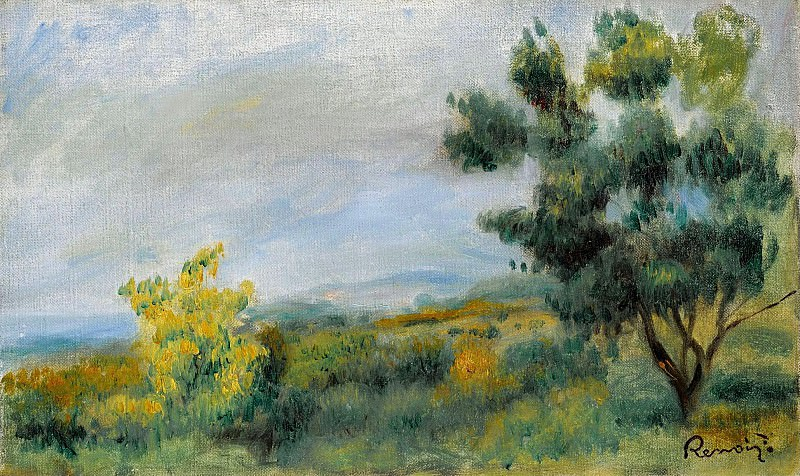 Pierre Auguste Renoir - Landscape with Trees and the Sea, 1900. Sotheby's