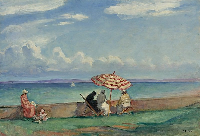 Henri Lebasque - The Papasol on the Terrace of Morgat, 1924. Sotheby's