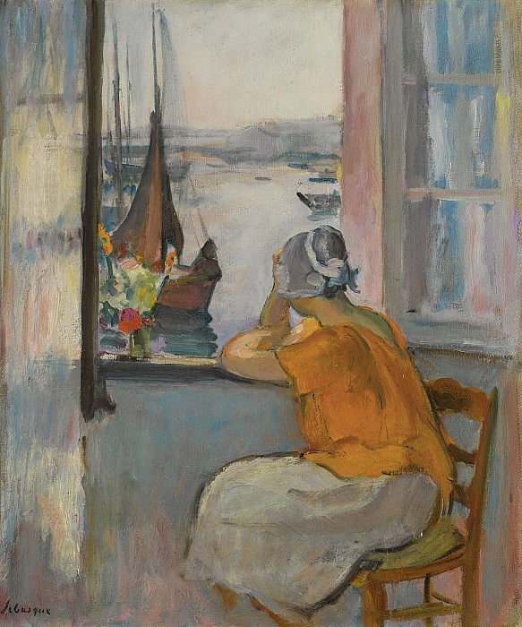 Henri Lebasque - Young Woman by the Window Viewing to the Isle of Yeu, 1920. Картины с аукционов Sotheby's