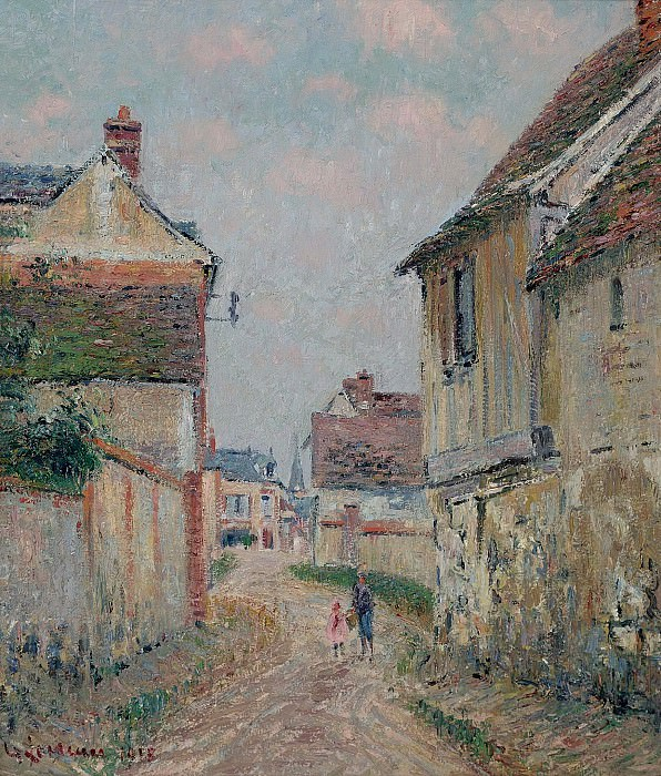 Gustave Loiseau - Mother and Child on the Street at Pontoise, 1915. Sotheby's