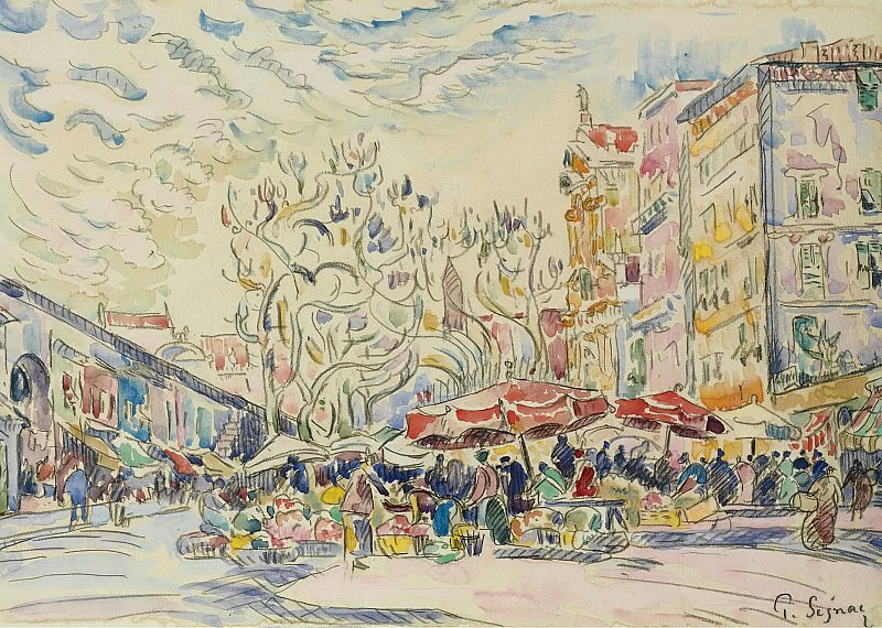 Paul Signac - Nice, the Courts of Saleya. Картины с аукционов Sotheby's