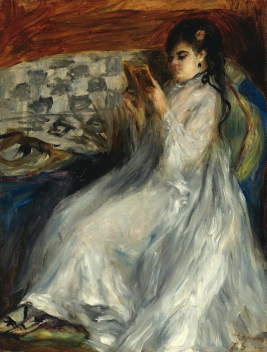 Pierre Auguste Renoir - Young Woman in White Reading, 1873. Sotheby's