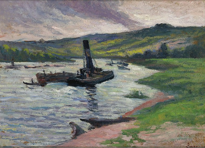 Maximilien Luce - Tugboat on the Seine. Sotheby's