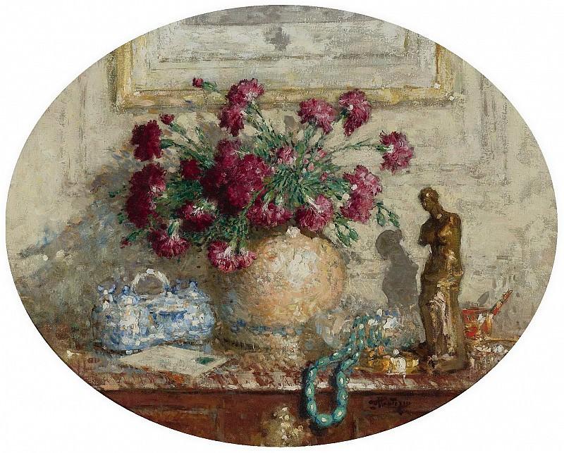 Pierre-Eugene Montezin - Vase with Flowers on the Locker. Sotheby's
