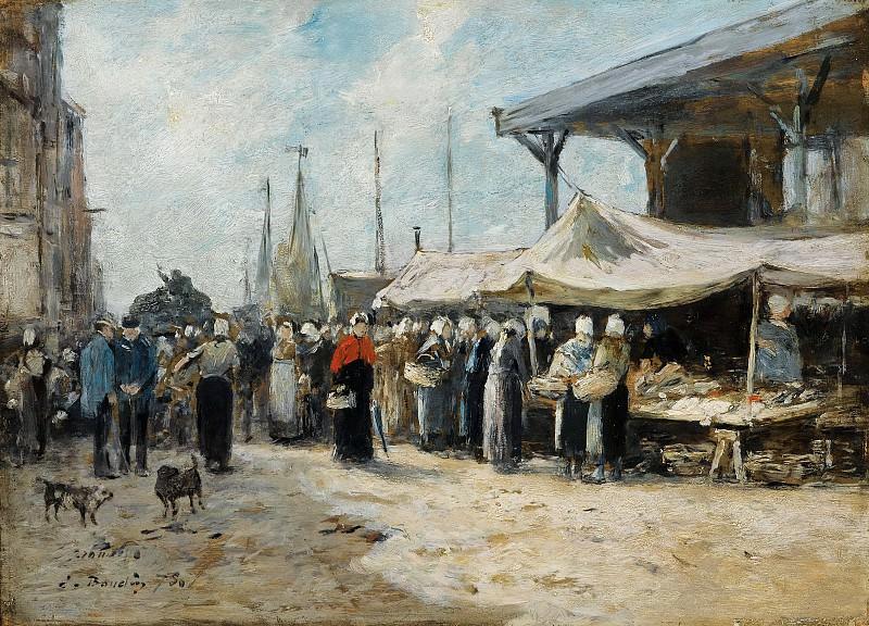 Eugene Boudin - Trouville, Fishing Market, 1875. Sotheby's