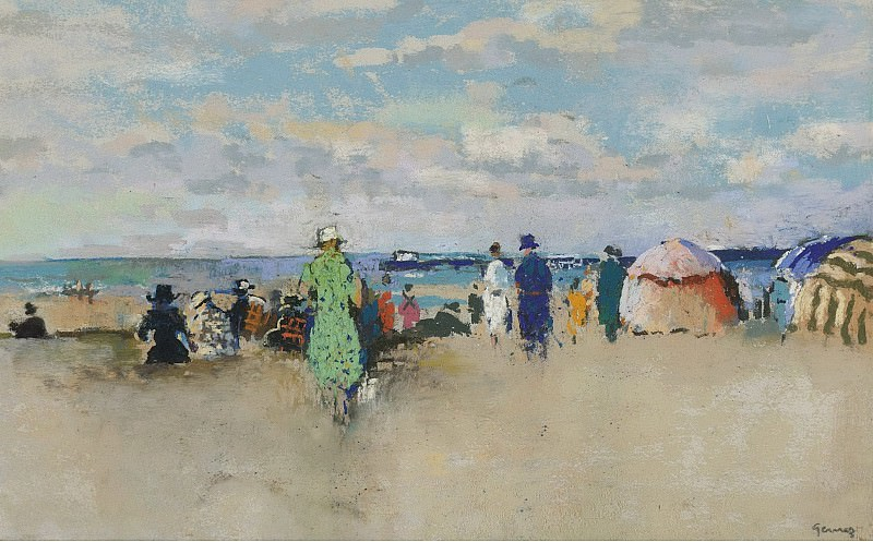 Paul-Elie Gernez - Scene on the Beach, Trouville. Sotheby's