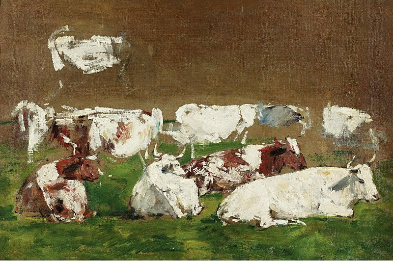 Eugene Boudin - Cows (study). Картины с аукционов Sotheby's