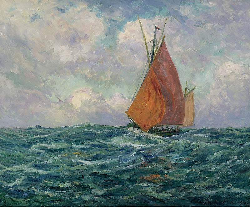 Maxime Maufra - Fishing Boat at the Sea, 1907. Sotheby's