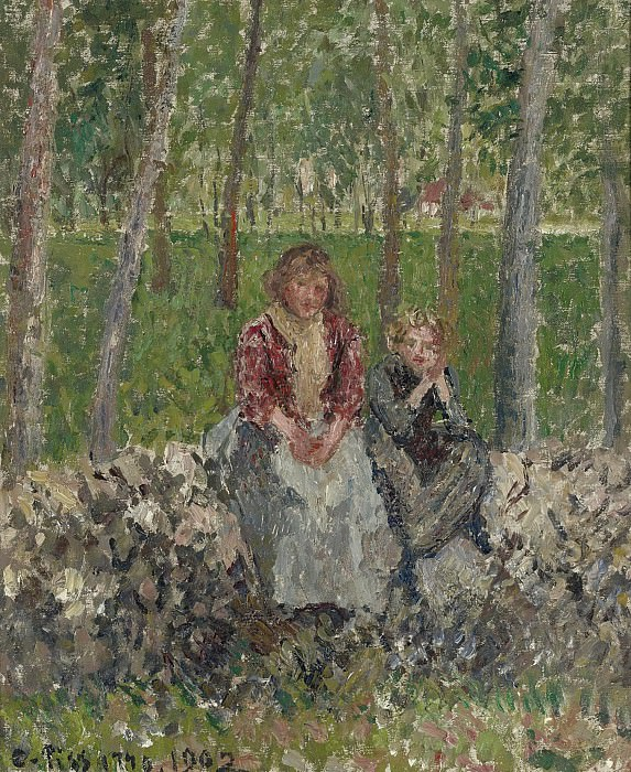 Camille Pissarro - Peasants Seated under the Trees at Moret, 1902. Sotheby's