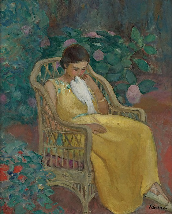 Henri Lebasque - Young Woman with a Dove. Sotheby's