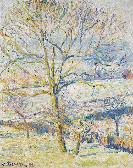 Camille Pissarro - Big Nut-Tree, the Frost at Eragny, 1892. Sotheby's