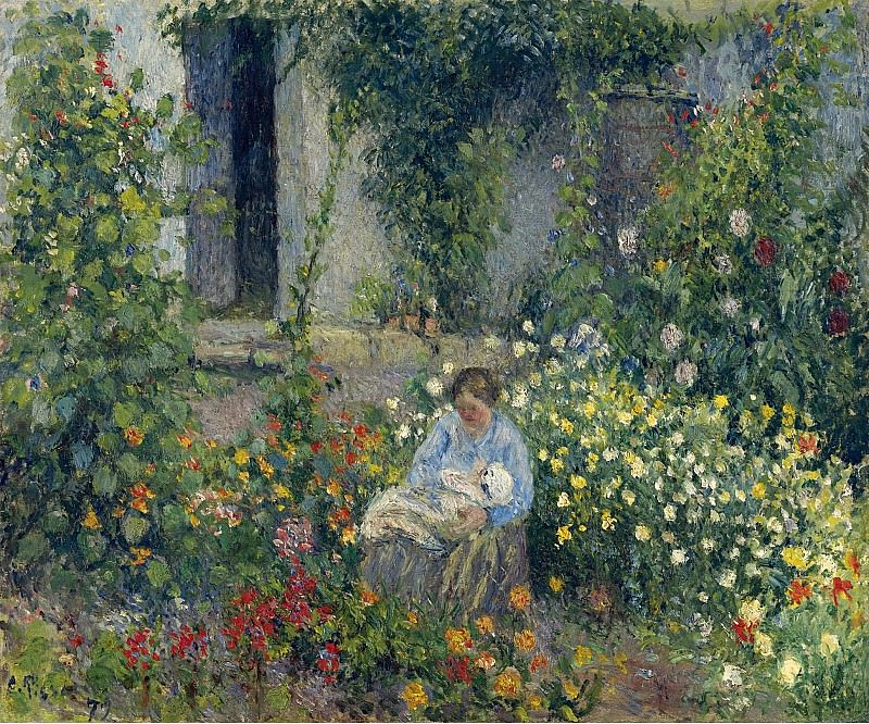 Camille Pissarro - Julie and Ludovic-Rodolphe Pissarro among the Flowers, 1879. Sotheby's