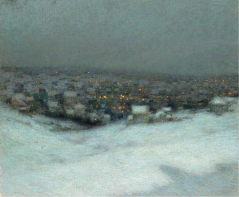 Henri Le Sidaner - Snow under the Moon, 1903. Sotheby's