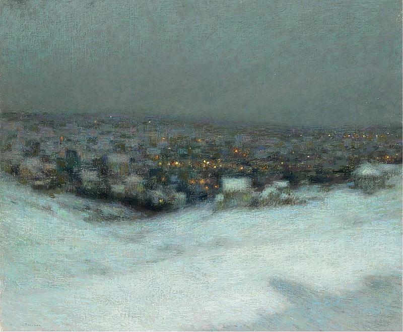 Henri Le Sidaner - Snow under the Moon, 1903. Картины с аукционов Sotheby's