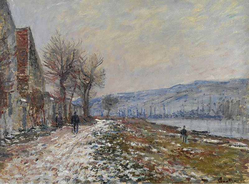 Claude Monet - The Riverbank at Lavacourt, Snow, 1879. Sotheby's