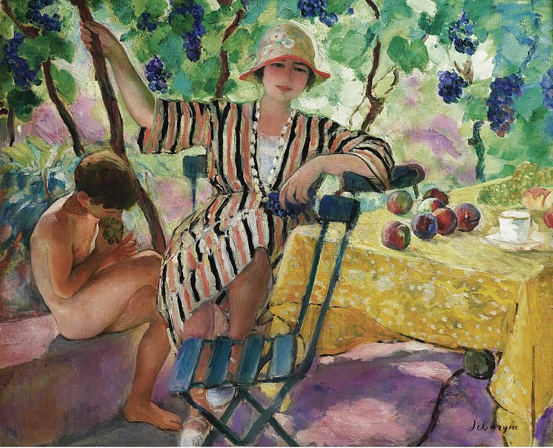 Henri Lebasque, the Garden at Summer (Pierre and Nono under the Grapes), 1920. Картины с аукционов Sotheby's