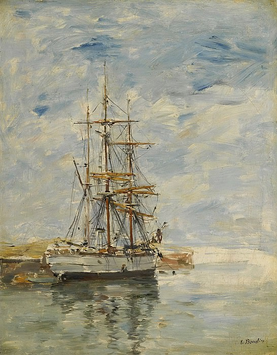 Eugene Boudin - Anchored Three-Master, 1894-97. Картины с аукционов Sotheby's