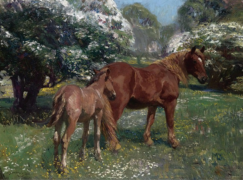 Alfred James Munnings - Mare and Foal in a Spring Meadow, 1909. Sotheby's