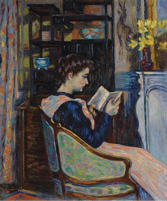 Armand Guillaumin - Mademoiselle Guillaumin Reading, 1907. Sotheby's