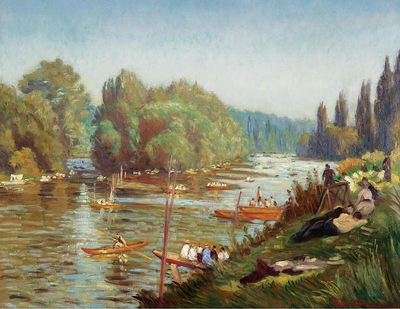 Emile Bernard - The Banks of the Marne at La Varenne, 1921. Картины с аукционов Sotheby's