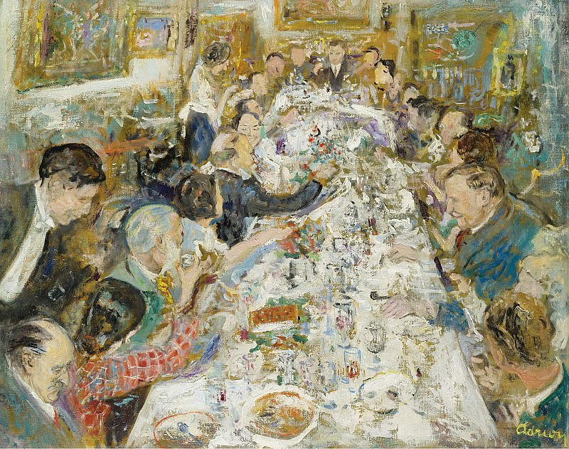 Lucien Adrion - The Dinner of Artists Making up by Monsieur and Madame Paul Petrides, 1937. Sotheby's