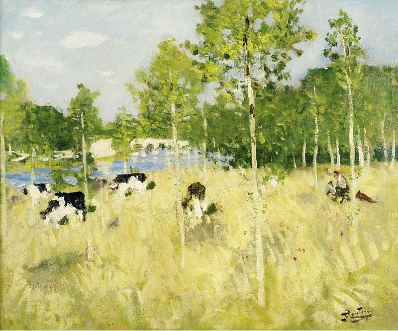 Pierre-Eugene Montezin - Cows on the Meadow. Sotheby's