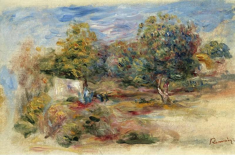 Pierre Auguste Renoir - Landscape with House (etude), 1913. Sotheby's