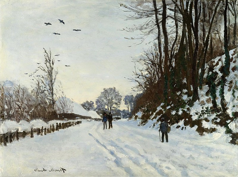 Claude Monet - the Road to the Farm Saint-Simeon in Winter, 1867. Sotheby's