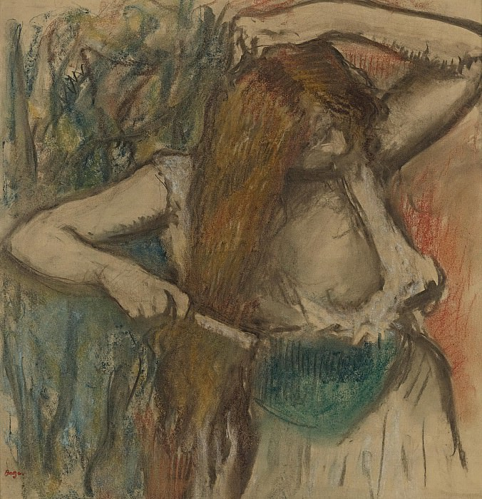 Edgar Degas - Woman Arranging Her Hair, 1894. Картины с аукционов Sotheby's