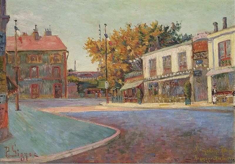 Paul Signac - Rue de la Station, Asnieres, 1884. Картины с аукционов Sotheby's
