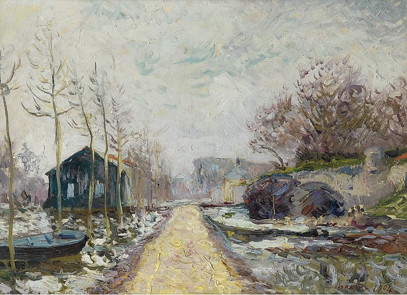Maxime Maufra - The Flood in Winter, Basse-Goulaine (Lower Reaches of Loire, near Nantes), 1904. Sotheby's