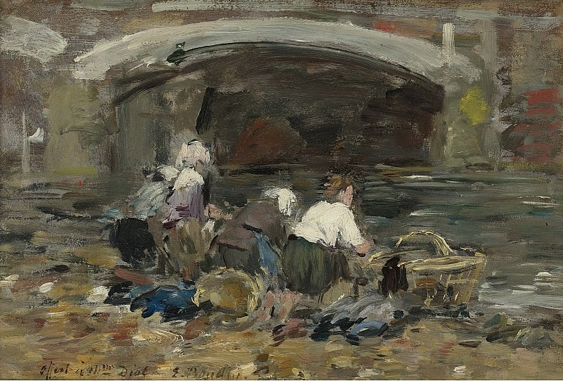 Eugene Boudin - Laundresses near the Bridge, 1885-90. Картины с аукционов Sotheby's