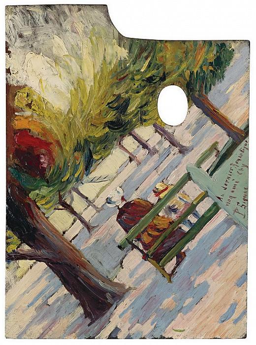 Paul Signac - Palette, Public Garden, 1882-83. Sotheby's