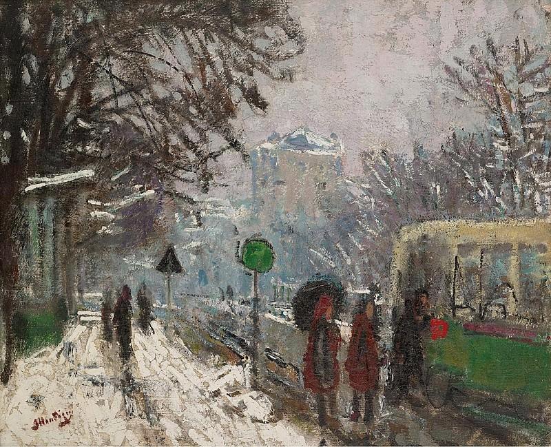 Pierre-Eugene Montezin - Bineau Boulevard under the Snow. Sotheby's