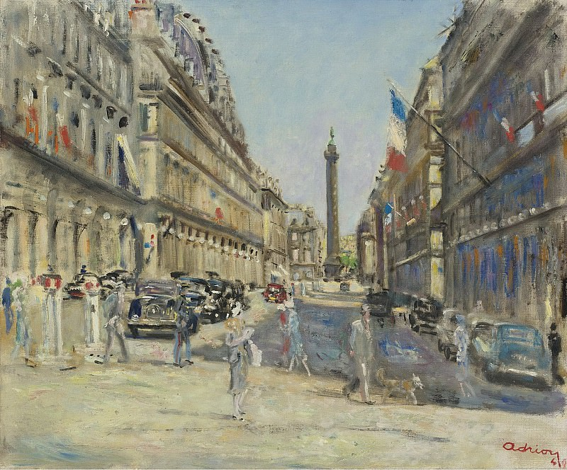 Lucien Adrion - Paris, CastiIglione Street, Vendom Square, 1949. Картины с аукционов Sotheby's