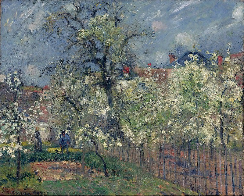 Camille Pissarro - The Garden of Maubuisson, Pontoise. Pear Trees in Bloom, 1877. Sotheby's